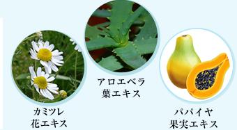 カミツレ花エキス・アロエベラ葉エキス・パパイヤ果実エキス